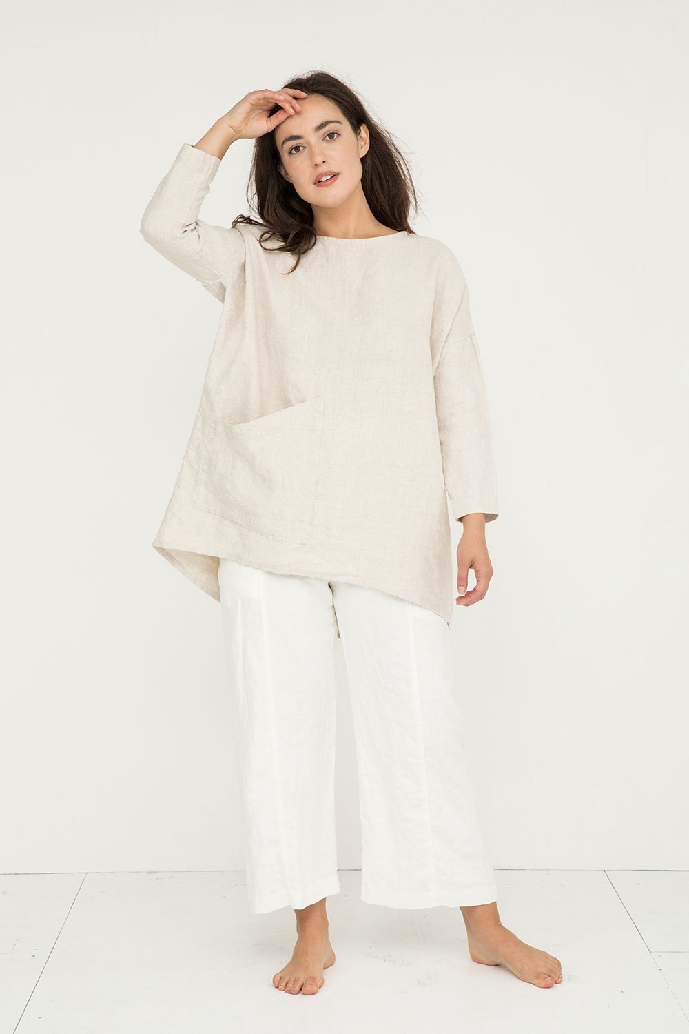 Harper Tunic in Midweight Linen Flax - Natalie-OS