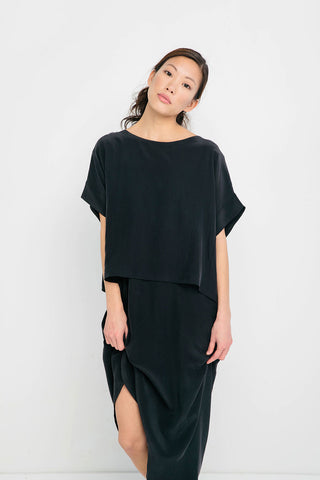 Georgia Tee in Silk Crepe Black