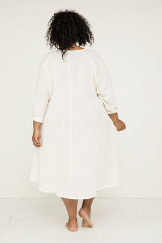 Artist Dress in Linen Gauze Ivory - Alex-OSP2