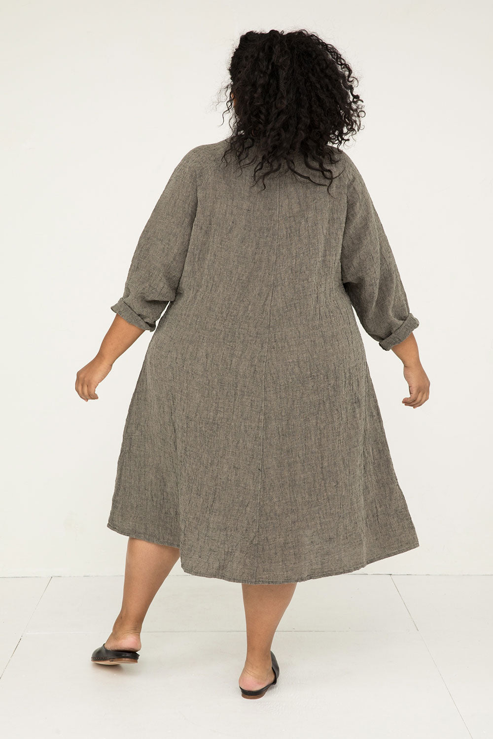 Artist Dress in Linen Gauze Pepper - Alex-OSP2