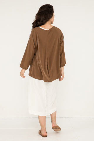 Artist Smock in Silk Crepe Moss - Natalie-OS