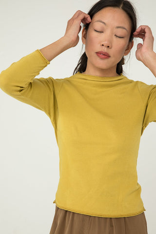 Long Sleeve James Mock Neck in Lightweight Cotton Knit Citron - Chung-XXS