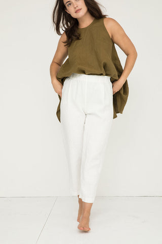 Andy Trouser in Midweight Linen Ivory