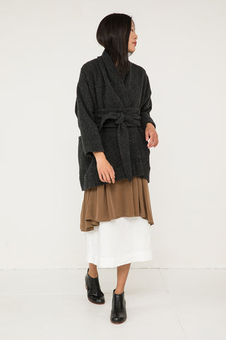 Asawa Tie Belt in Lightweight Wool Charcoal - Chung-OS Minus