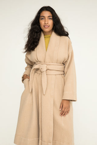 Asawa Tie Belt in Lightweight Wool Fawn - Nouri-OS
