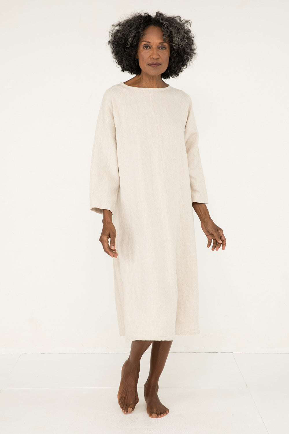 Artist Dress in Midweight Linen Flax - Pat-OS