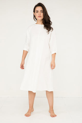 Artist Dress in Midweight Linen Ivory - Natalie-OS