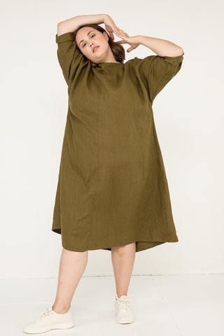 Artist Dress in Midweight Linen Olive - Sam-OSP2