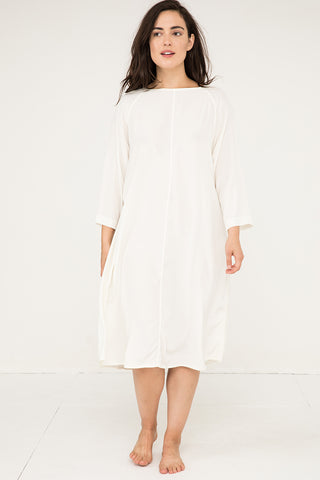 Artist Dress in Silk Crepe Ivory - Natalie-OS
