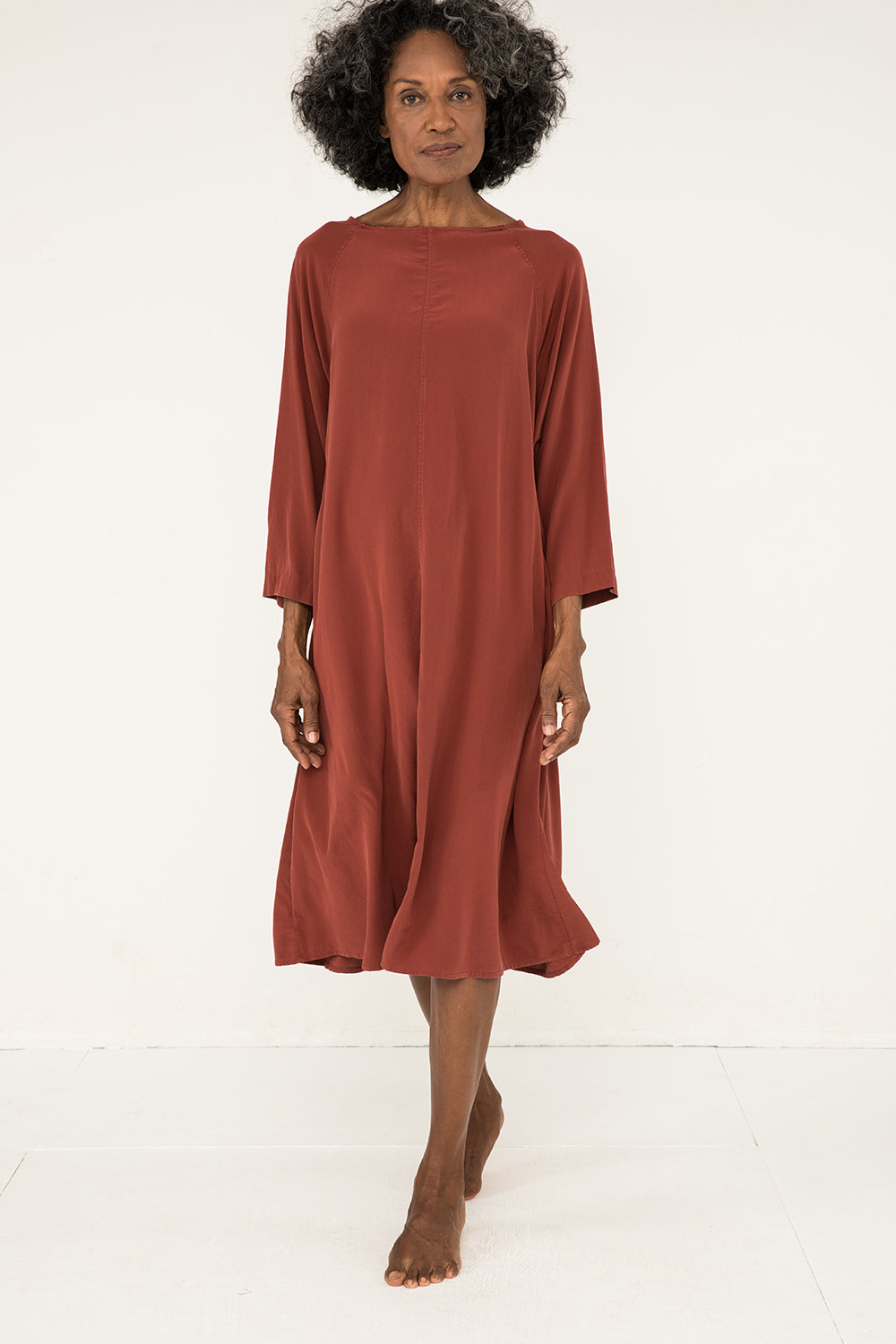 Artist Dress in Silk Crepe Rust - Pat-OS