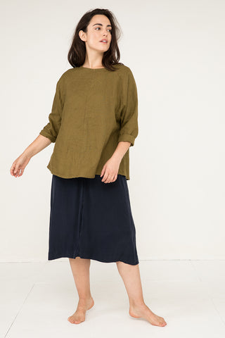 Artist Smock in Midweight Linen Olive - Natalie-OS