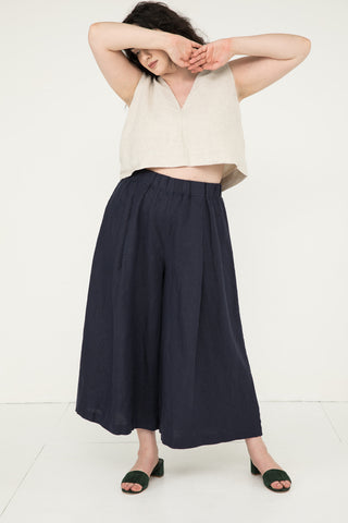 Andy Palazzo in Midweight Linen Navy - Yasmin-XL Regular