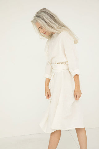 Artist Dress in Linen Gauze Ivory - Kendall-OSM