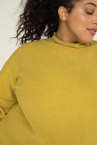 Billie Sweater Dress in Textured Cotton Knit Citron - Alex-2XL