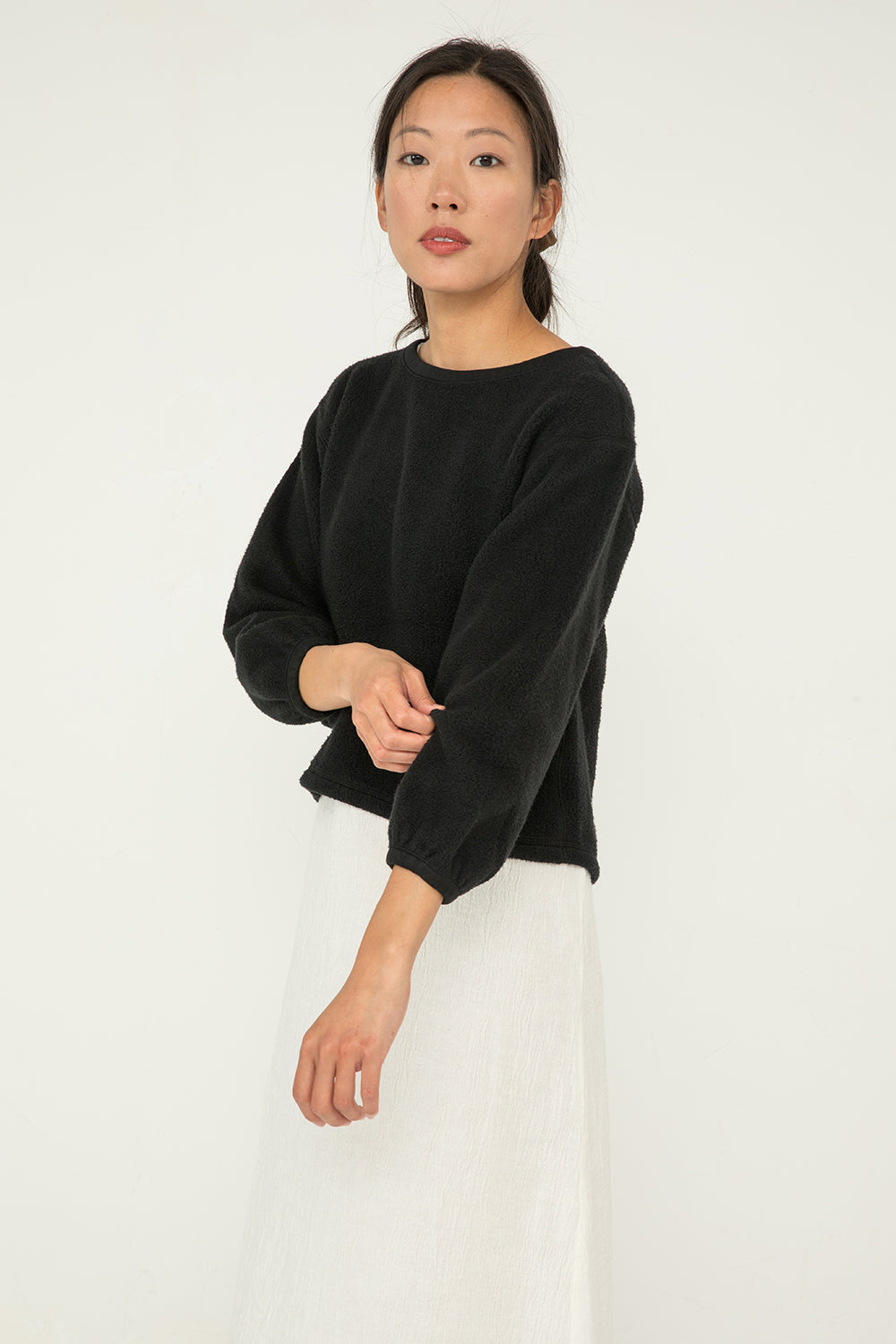 Billie Sweater in Textured Cotton Knit Black - Chung-XXS