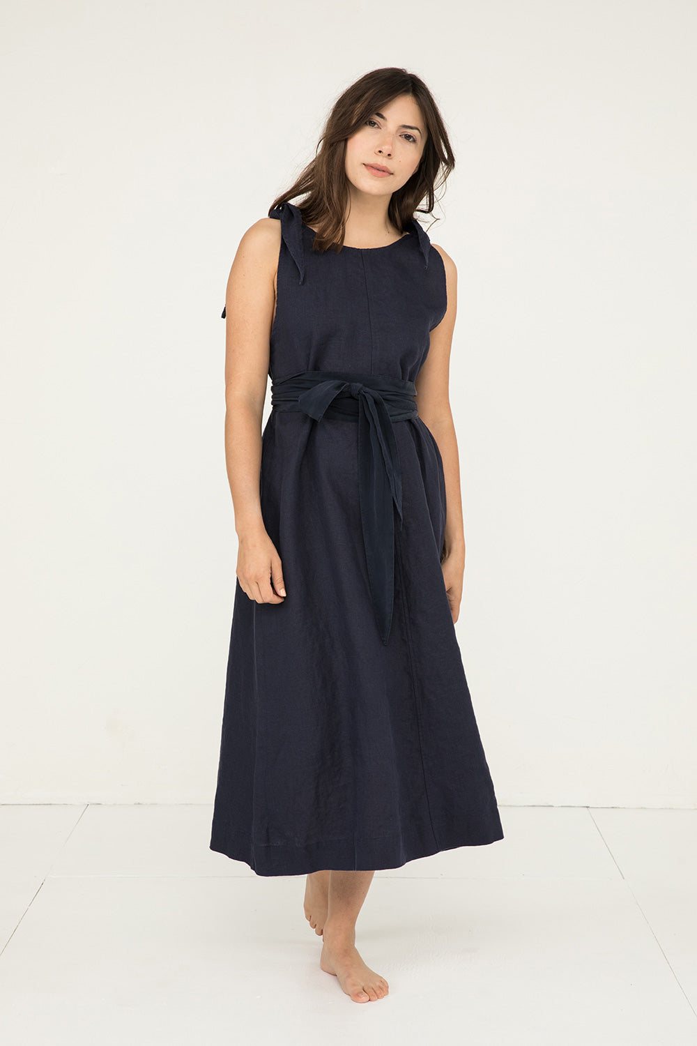 Asawa Tie Belt in Silk Crepe Navy - Molly-OSM