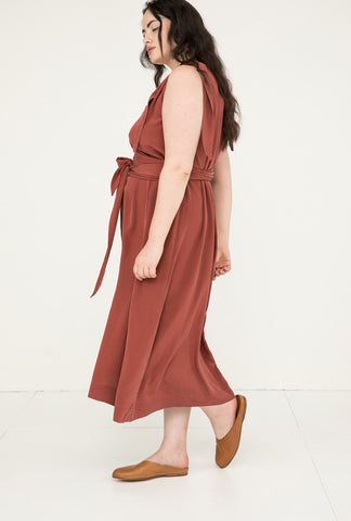 Asawa Tie Belt in Silk Crepe Rust - Yasmin-OSP