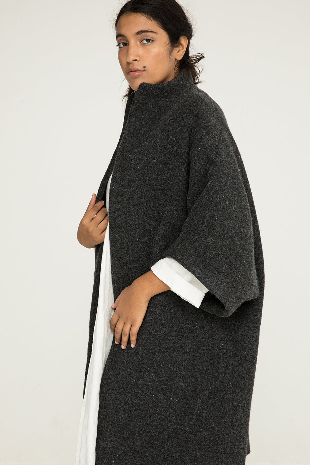 Cocoon Coat in Heavyweight Wool Charcoal - Nouri-OS