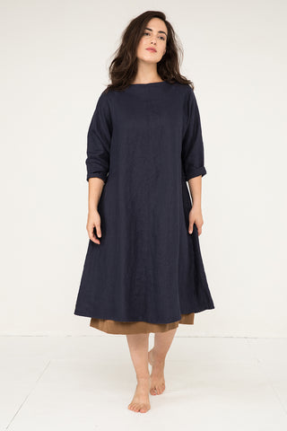 Artist Dress in Midweight Linen Navy - Natalie-OS