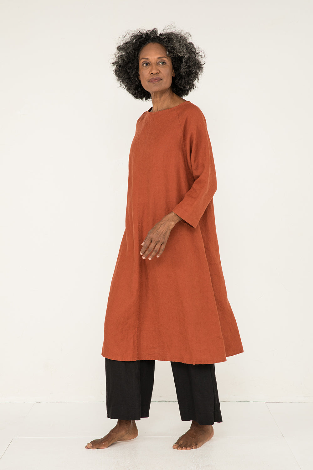 Artist Dress in Midweight Linen Terra - Pat-OS
