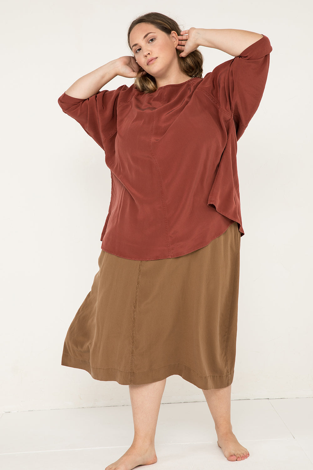 Artist Smock in Silk Crepe Rust - Sam-OSP2