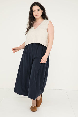 Andy Palazzo in Silk Crepe Navy - Yasmin-XL Regular