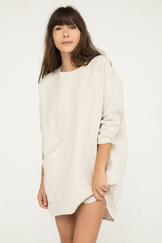 Harper Tunic in Midweight Linen Flax - Molly-OSM
