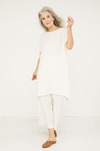 Georgia Dress in Linen Gauze Ivory- Kendall-OSM