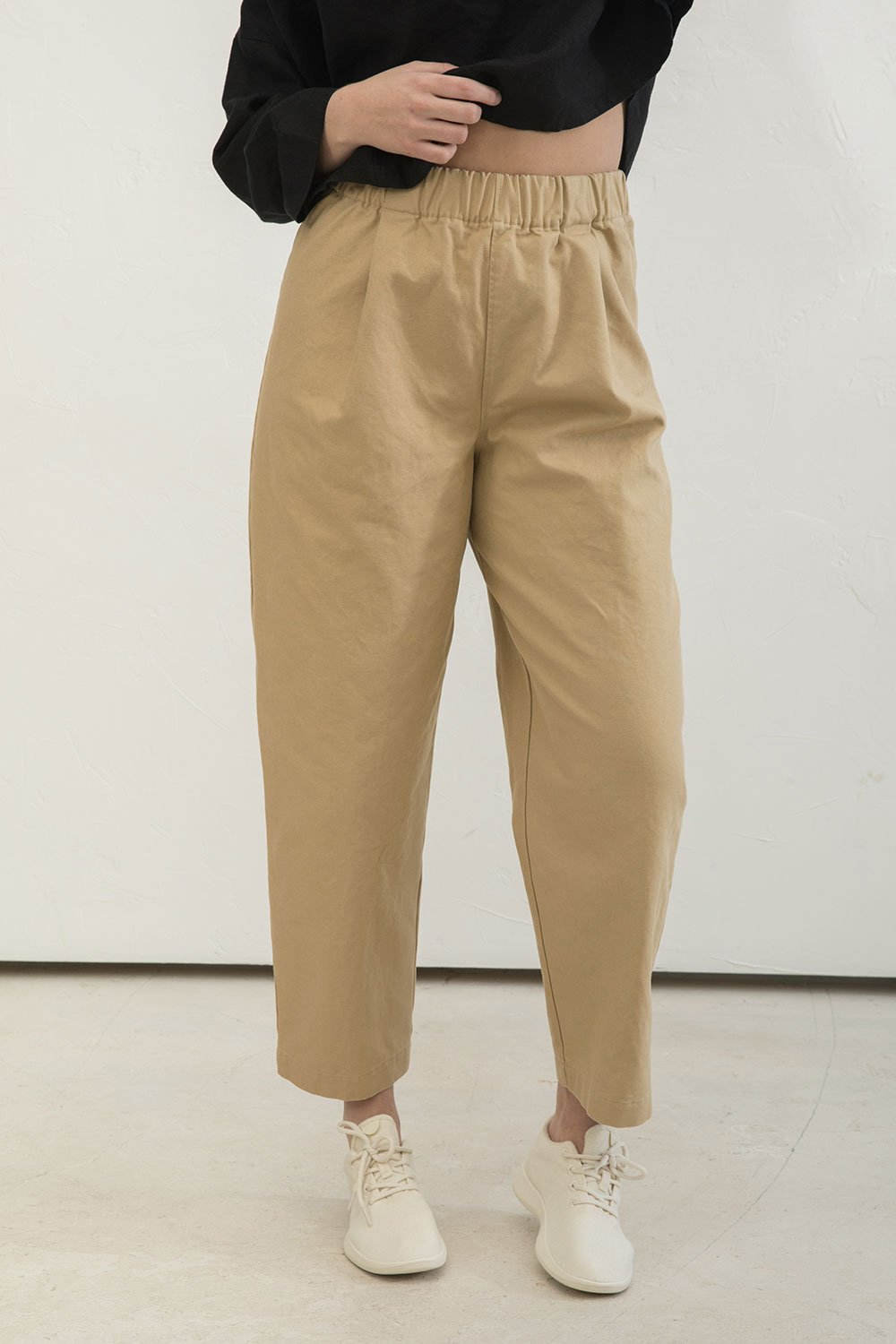 Andy Trouser in Cotton Canvas Khaki - Abbie-Large Tall
