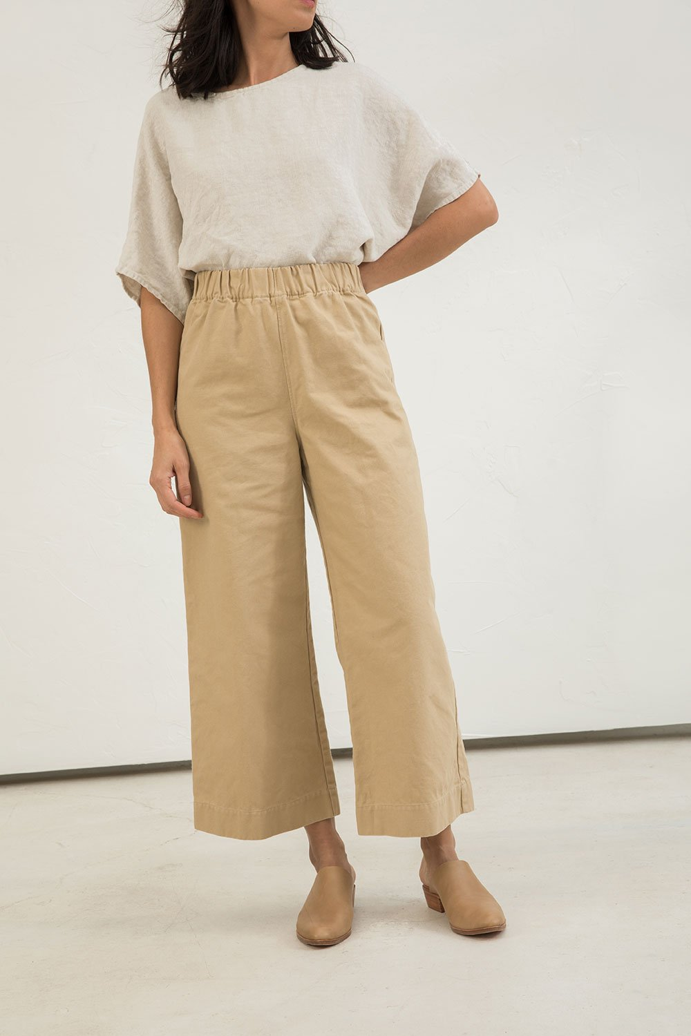 Florence Pant in Cotton Canvas Khaki - Lisa-Small Regular