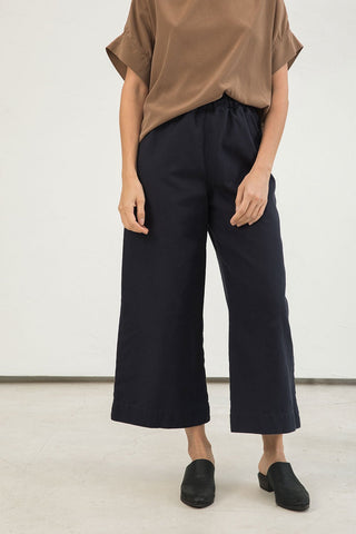 Florence Pant in Cotton Canvas Navy - Lisa-Small Regular