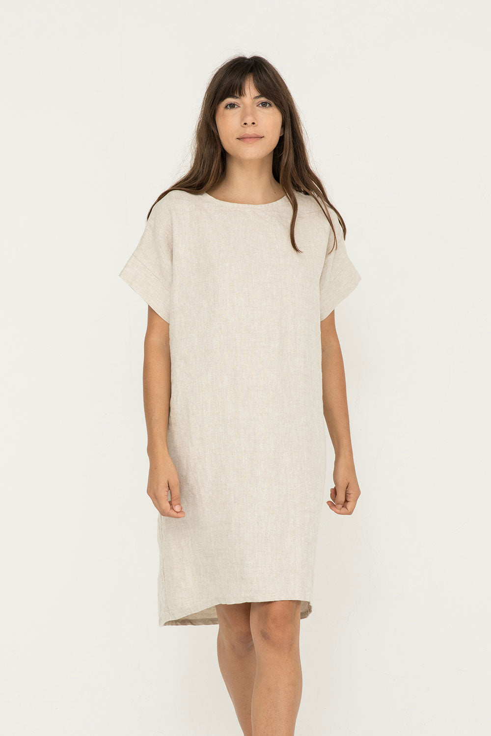 Georgia Dress in Midweight Linen Flax - Molly-OSM