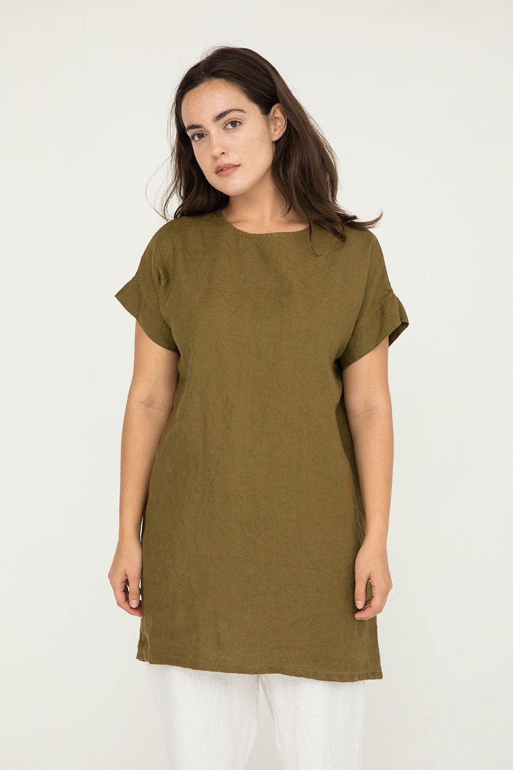 Georgia Dress in Midweight Linen Olive - Natalie-OS