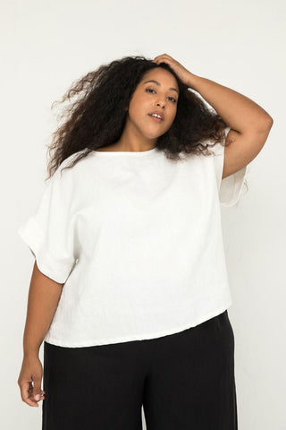 Georgia Tee in Midweight Linen Ivory - Alex-OSP3