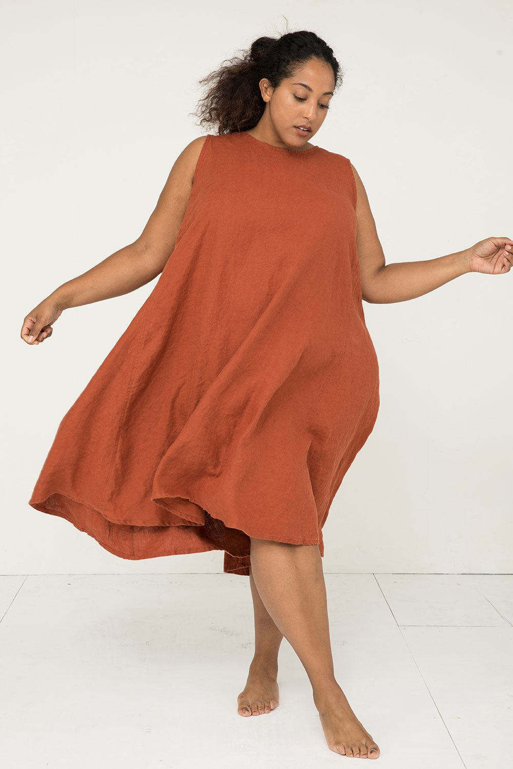 Harlow Dress in Midweight Linen Terra - Alex-2XL