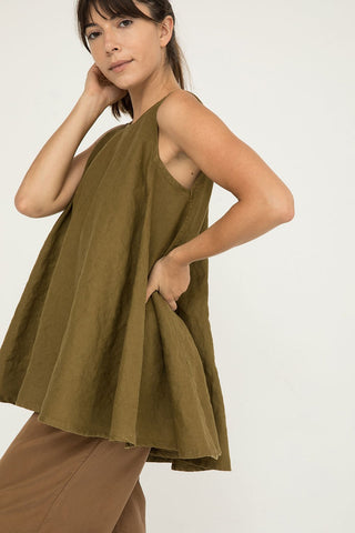 Harlow Tunic Midweight Linen Olive - Molly-XXS