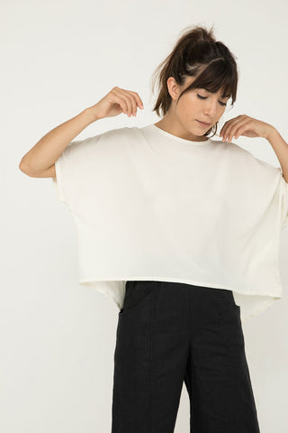 Linn Tee in Silk Crepe Ivory - Molly-OSM