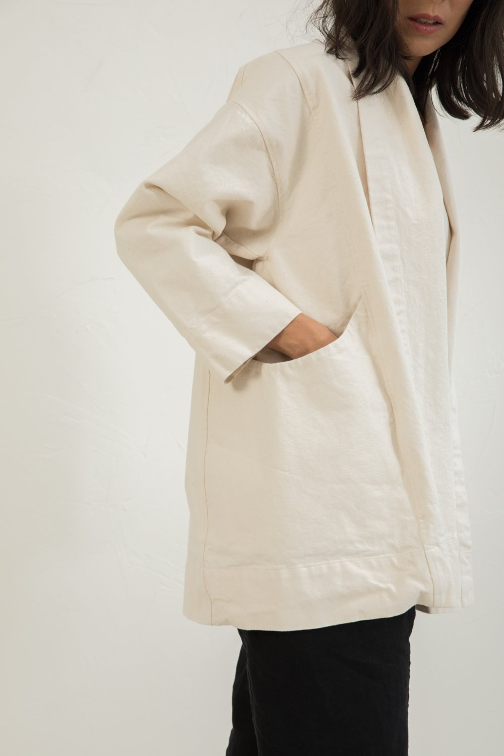 Clyde Jacket in Cotton Canvas Natural - Lisa-Small