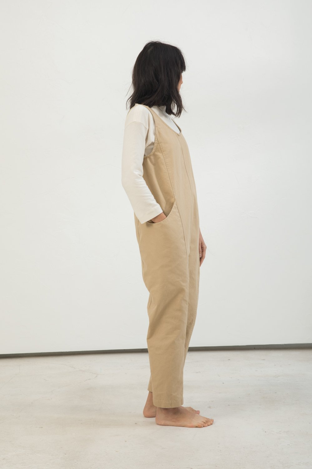 Clyde Jumpsuit in Cotton Canvas Khaki - Lisa-Small Regular