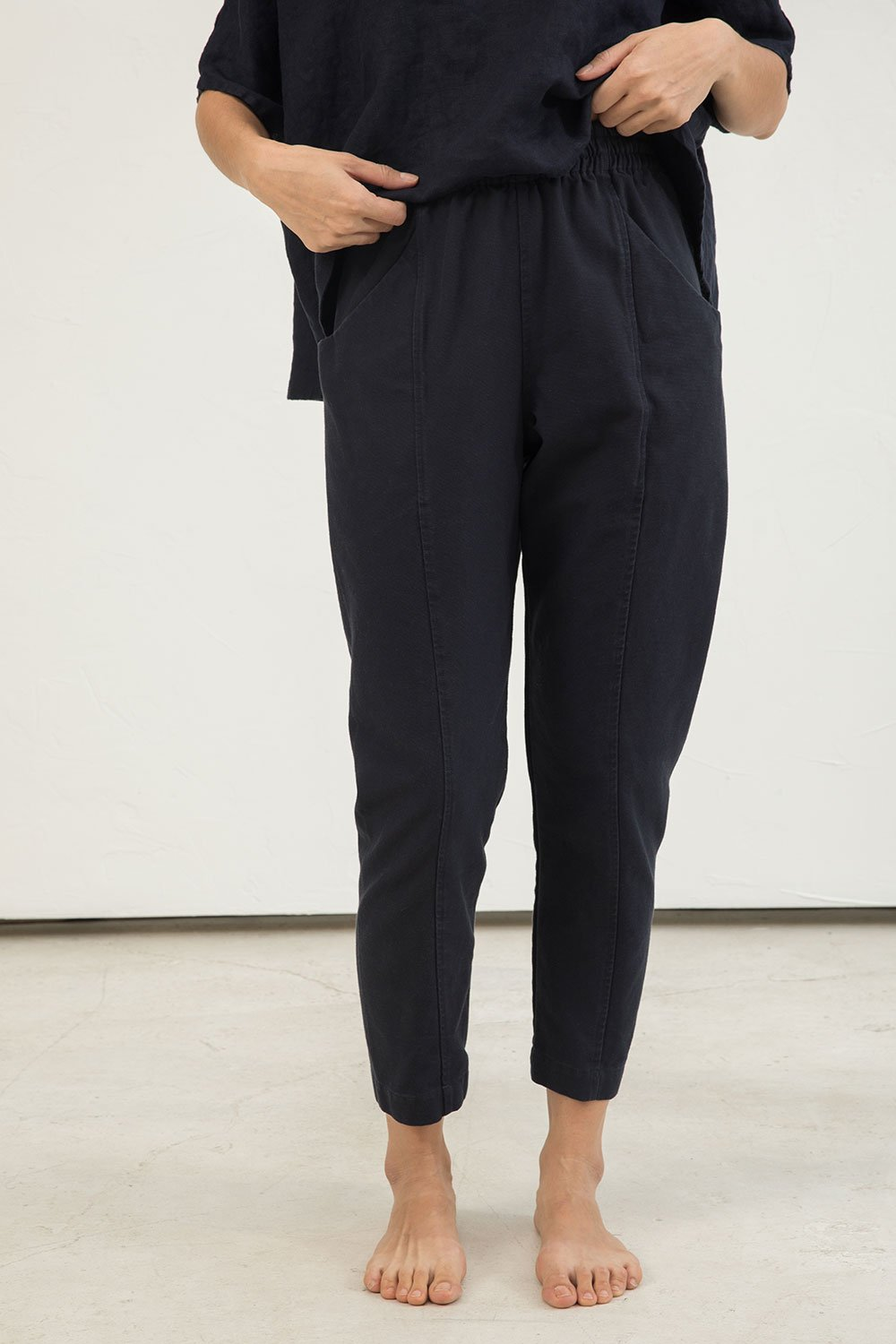 Clyde Work Pant in Cotton Canvas Navy - Lisa-4 Regular
