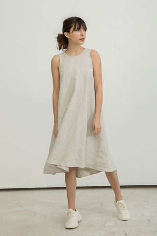 Harlow Dress in Midweight Linen Flax - Molly-XXS