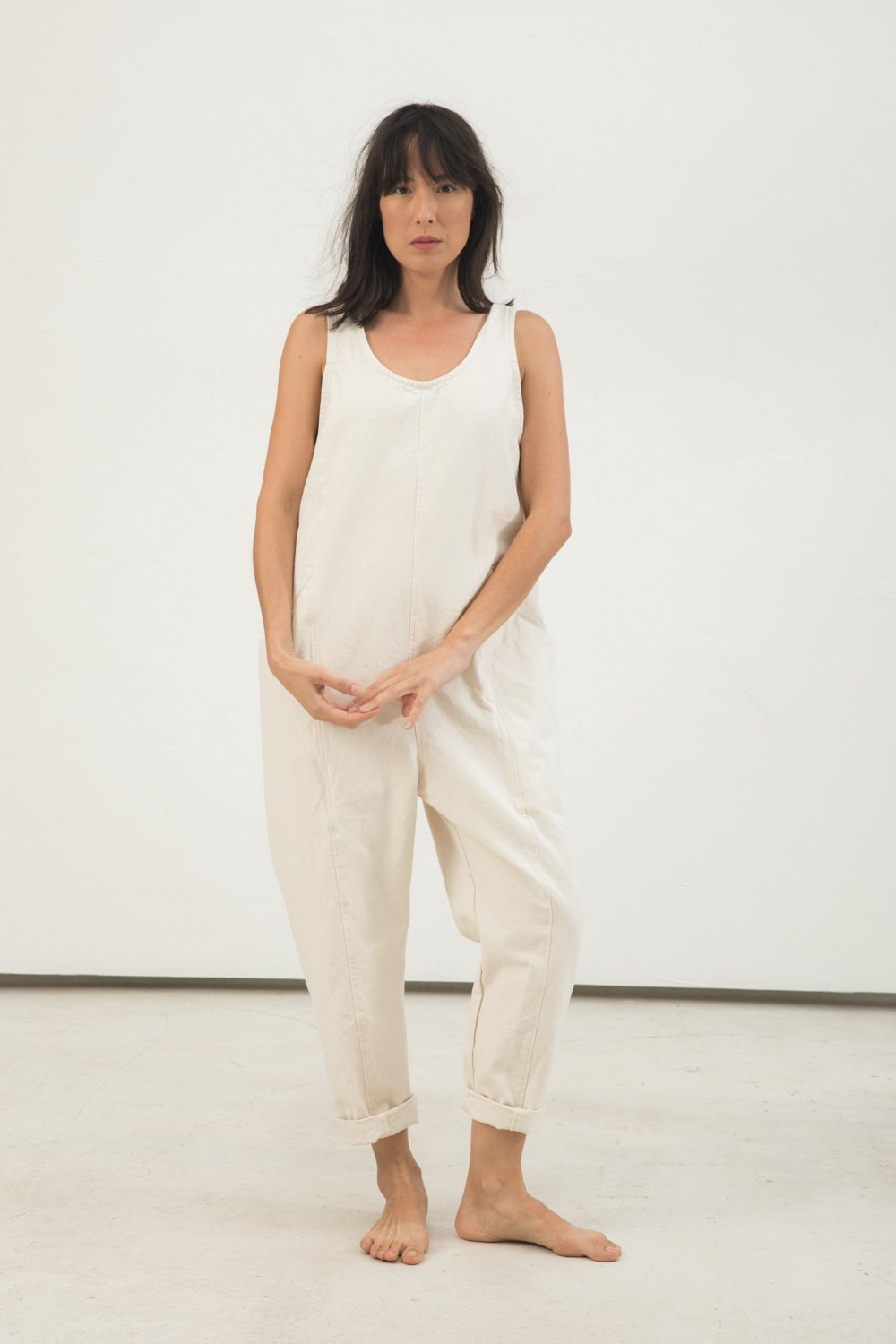 Clyde Jumpsuit in Cotton Canvas Natural - Lisa-Small Regular