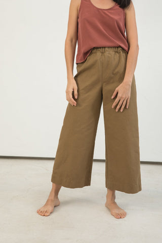 Florence Pant in Cotton Canvas Clay - Lisa-Small Regular