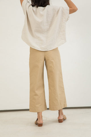 Florence Pant in Cotton Canvas Khaki