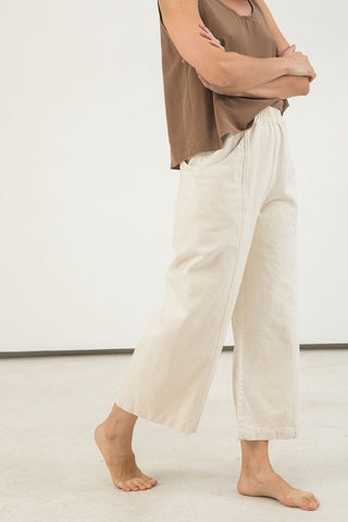 Clyde Culotte in Cotton Canvas Natural - Lisa-4 Regular