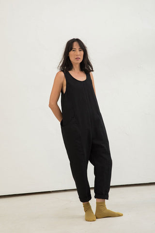Clyde Jumpsuit in Cotton Canvas Black - Lisa-Small Regular