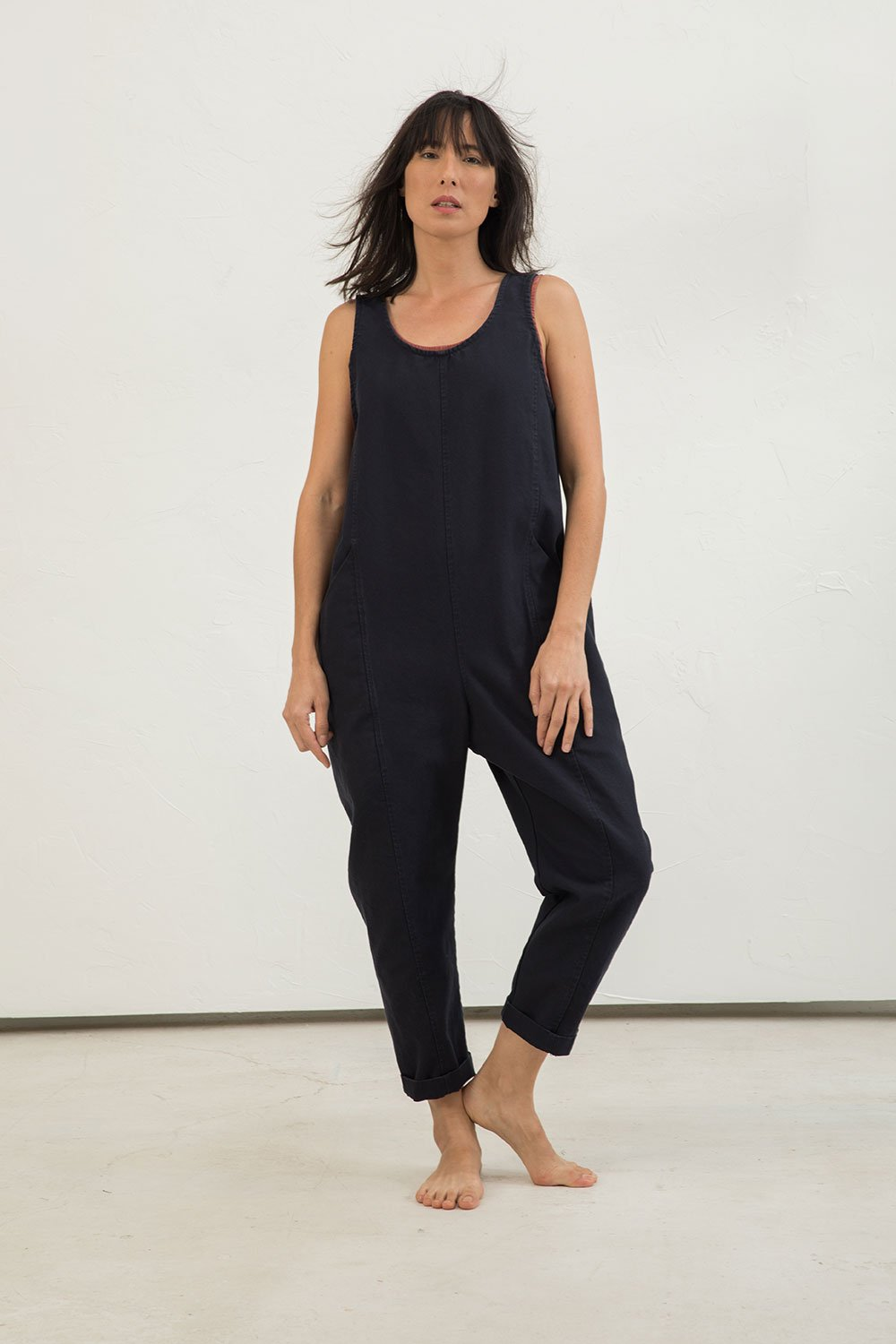 Clyde Jumpsuit in Cotton Canvas Navy - Lisa-Small Regular