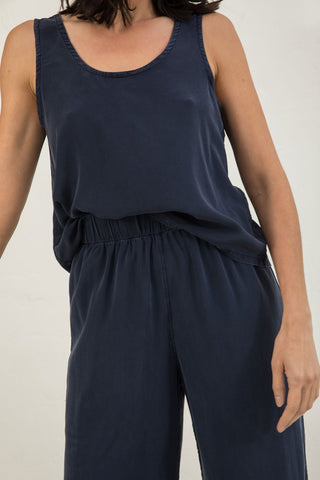 Ella Slip Tank in Silk Crepe Navy - Lisa-Small