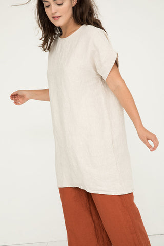 Georgia Dress in Midweight Linen Flax - Natalie-OS