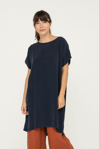 Georgia Dress in Silk Crepe Navy - Molly-OSM